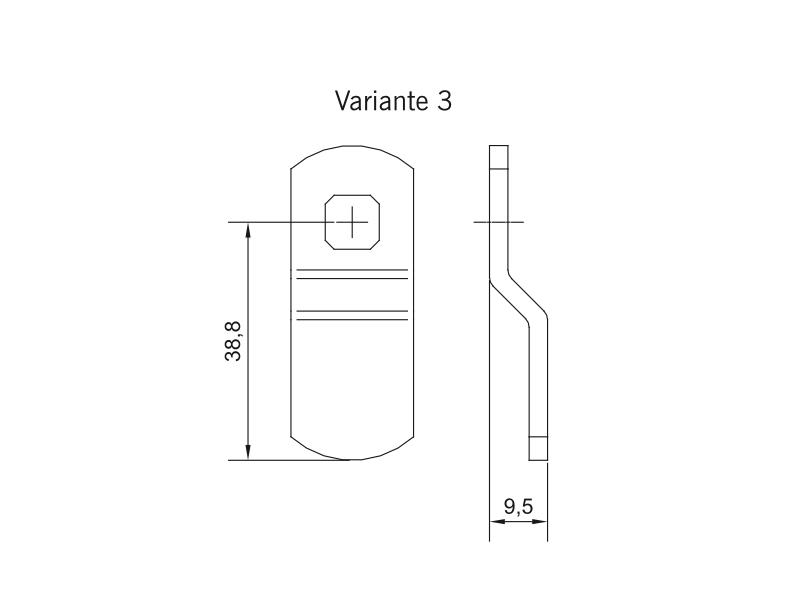 KXC-RA Schließhebel für Rack-Schrankschloss Variante 3