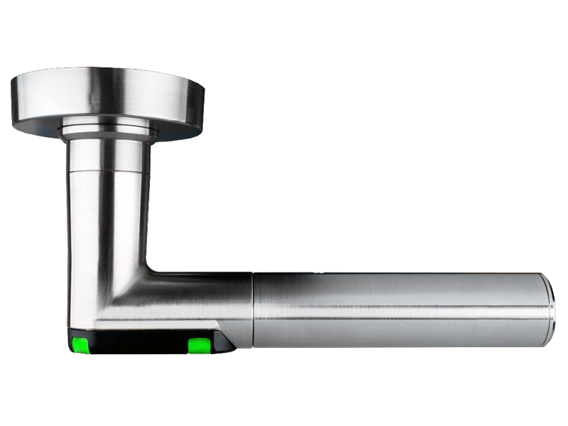 DoorLock-LE Türdrücker (MIFARE® DESFire®) Rundrosette, L-Form, IP55, RECHTS