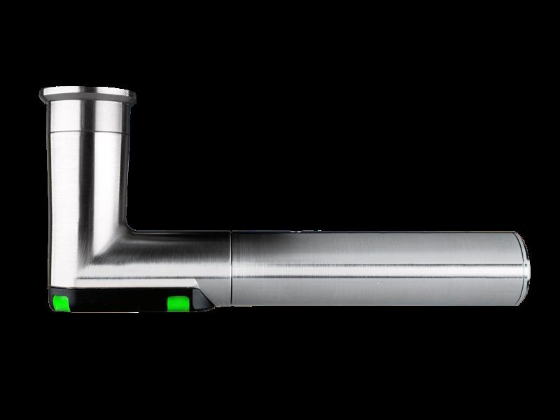 DoorLock-LE Türbeschlag (MIFARE® DESFire®) breit mit Lochung, L-Form, IP66, RECHTS
