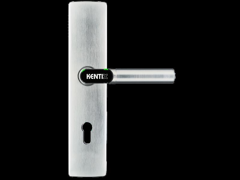DoorLock-LE Türbeschlag (MIFARE® DESFire®) breit mit Lochung, L-Form, IP55, Brandschutz, RECHTS