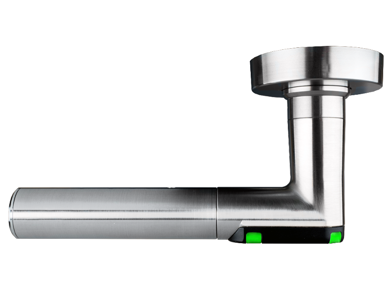 DoorLock-LE Türdrücker (MIFARE® DESFire®) Rundrosette, L-Form, IP55, LINKS