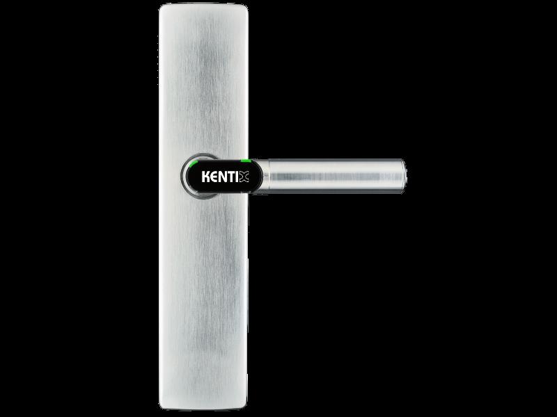 DoorLock-LE Türbeschlag (MIFARE® DESFire®) breit, blind ohne Lochung, L-Form, IP55, Brandschutz, RECHTS