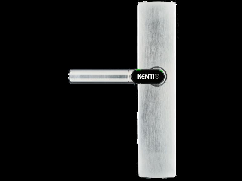 DoorLock-LE Türbeschlag (MIFARE® DESFire®) breit, blind ohne Lochung, L-Form, IP66, LINKS