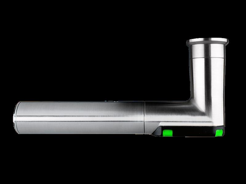 DoorLock-LE Türbeschlag (MIFARE® DESFire®) breit mit Lochung, L-Form, IP55, Brandschutz, LINKS